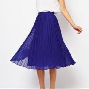 ASOS Pleated Chiffon Skirt- Blue